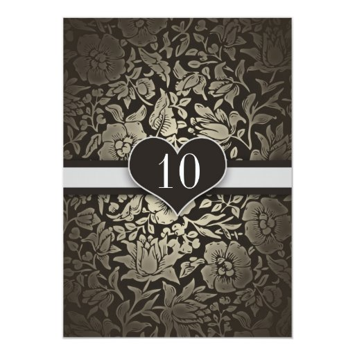10 Years Wedding Anniversary Damask Invitations