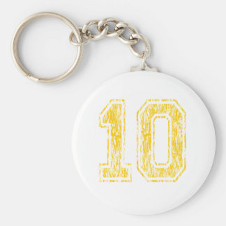 #10 Yellow Varsity Basic Round Button Keychain