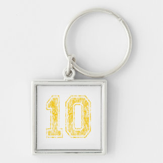 #10 Yellow Varsity Silver-Colored Square Keychain