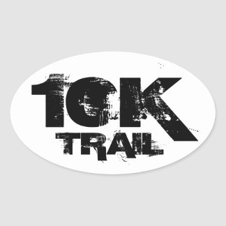 10K Trail Running Oval Decal Black On White Oval Sticker
