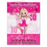 10ma animadora del rosa de la tarjeta de cumpleaño