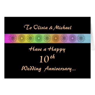 10ma tarjeta adaptable feliz del aniversario