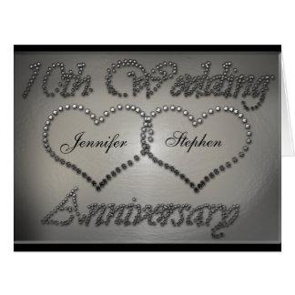 10ma tarjeta perforada del aniversario de boda de