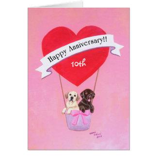 10mo Aniversario de boda Labradors Tarjetas