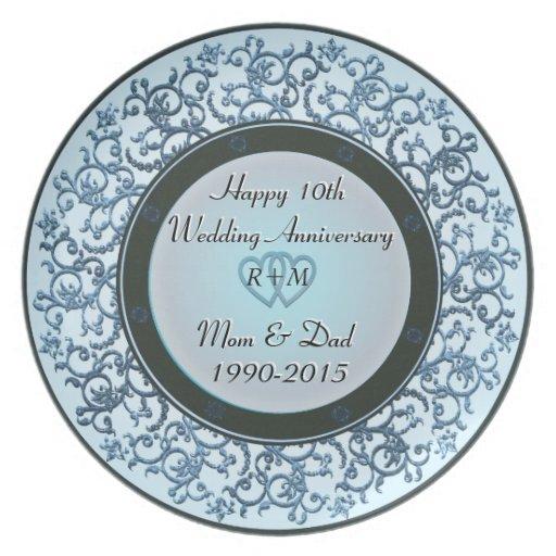 10mo Aniversario de boda Plato Para Fiesta