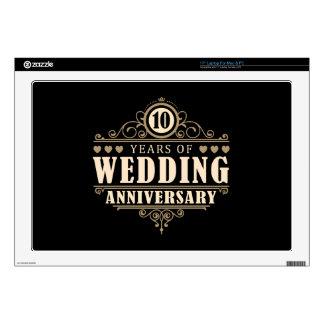 10mo Aniversario de boda Portátil Calcomanía