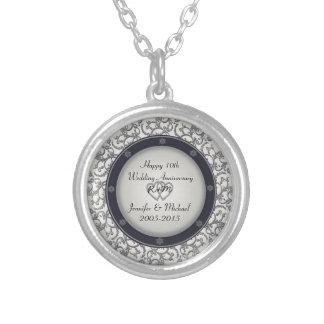 10mo Aniversario de bodas de plata Collar Plateado