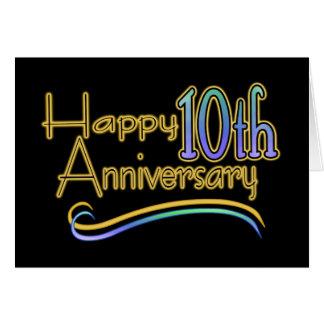 10mo aniversario feliz tarjeta de felicitación