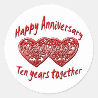 10mo. Aniversario Pegatina Redonda