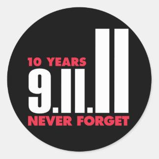 10mo Aniversario pegatina del 11 de septiembre