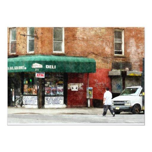 """10mo Avenida. Tienda de delicatessen en Manhattan Invitación 5"""" X 7"""""""