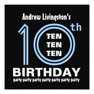 10mo B451 azul de la fiesta de cumpleaños y negro Invitación 13,3 Cm X 13,3cm