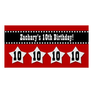 10mo Bandera del cumpleaños con el nombre de Posters