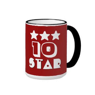 10mo BLANCO ROJO de la estrella V18C1 del Taza De Dos Colores