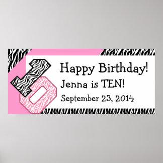 10mo Cebra del cumpleaños con el nombre de encargo Póster