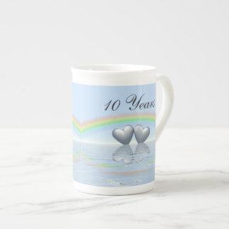 10mo Corazones de la lata del aniversario Tazas De Porcelana