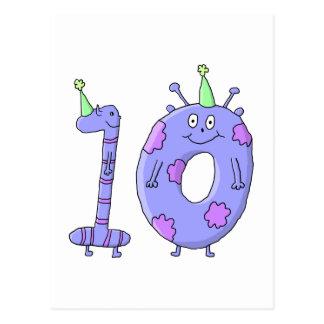 10mo Criaturas del dibujo animado de la fiesta de Tarjetas Postales