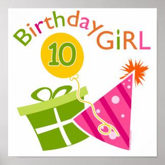 10mo cumpleaños - chica del cumpleaños póster
