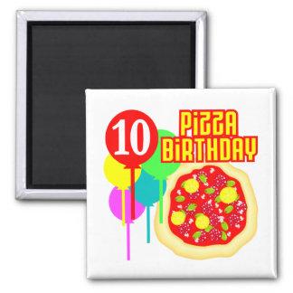 10mo Cumpleaños de la pizza del cumpleaños Imán Cuadrado