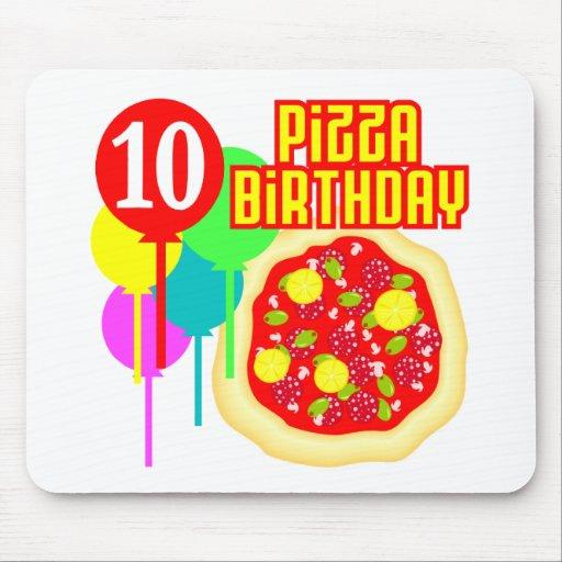 10mo Cumpleaños de la pizza del cumpleaños Alfombrillas De Raton