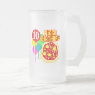 10mo Cumpleaños de la pizza del cumpleaños Taza De Cristal