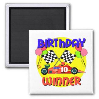 10mo Cumpleaños del coche de carreras del cumpleañ Imán Cuadrado