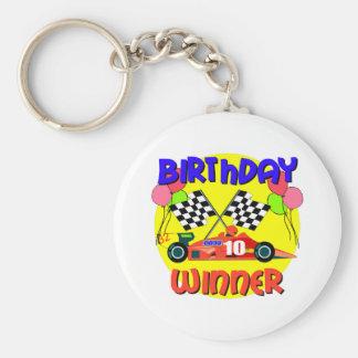 10mo Cumpleaños del coche de carreras del cumpleañ Llavero Redondo Tipo Pin