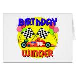 10mo Cumpleaños del coche de carreras del Tarjeta De Felicitación