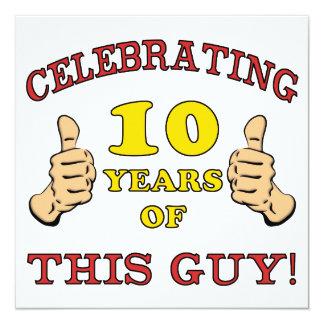 10mo cumpleaños divertido para los muchachos invitación 13,3 cm x 13,3cm