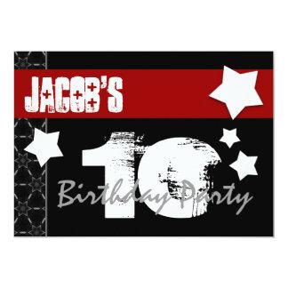 10mo Cumpleaños moderno para él negro blanco rojo Invitación 12,7 X 17,8 Cm