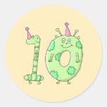 10mo Dibujo animado de la fiesta de cumpleaños - Etiqueta Redonda