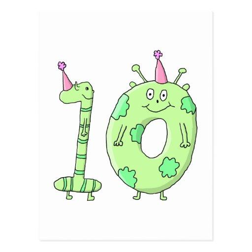 10mo Dibujo animado de la fiesta de cumpleaños - v Tarjeta Postal
