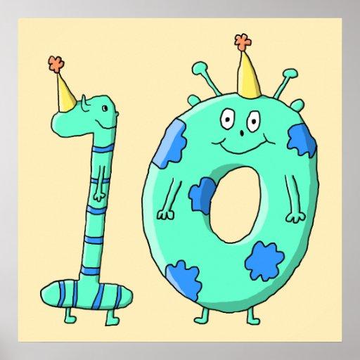 10mo Dibujo animado del cumpleaños, verde del trul Posters