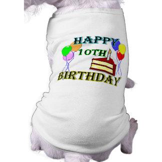 10mo Diseño del cumpleaños de la torta de Playera Sin Mangas Para Perro