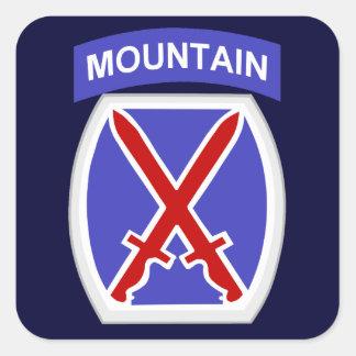 10mo División de la montaña Pegatina Cuadrada
