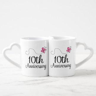10mo El aniversario junta las tazas Taza Para Parejas