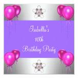 10mo El rosa de la fiesta de cumpleaños hincha la Invitaciones Personales