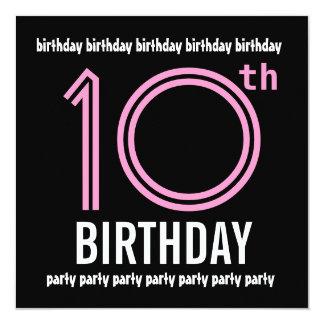 10mo G001 rosado de la fiesta de cumpleaños y Invitación 13,3 Cm X 13,3cm