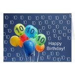10mo Globos coloreados de la tarjeta de cumpleaños