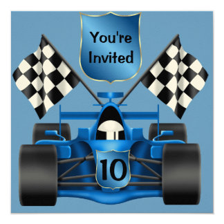 10mo Invitación del coche de carreras del Invitación 13,3 Cm X 13,3cm