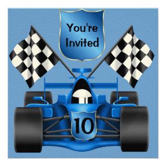 10mo Invitación del coche de carreras del CUMPLEAÑ