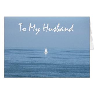 10mo marido feliz del aniversario - velero tarjeta de felicitación