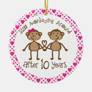 10mo Ornamento del regalo del aniversario Adorno Navideño Redondo De Cerámica