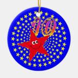 10mo Ornamento redondo de la estrella sonriente Adorno Redondo De Cerámica
