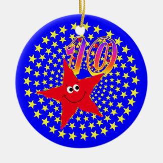 10mo Ornamento redondo de la estrella sonriente ro Ornamentos De Reyes