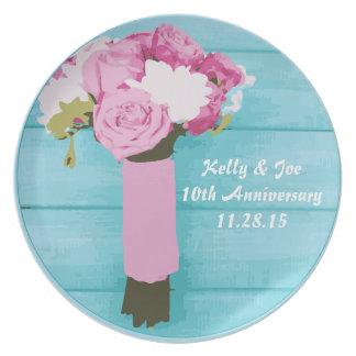 10mo Placa del aniversario de boda Plato Para Fiesta