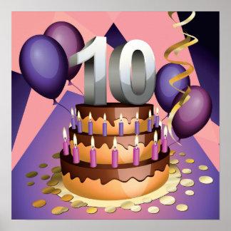10mo Poster de la torta del aniversario