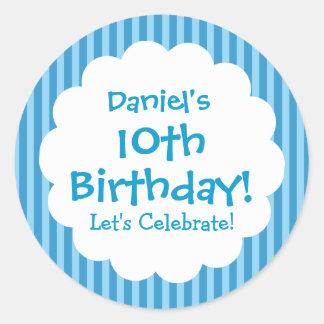 10mo Rayas azules V1C del pegatina del cumpleaños