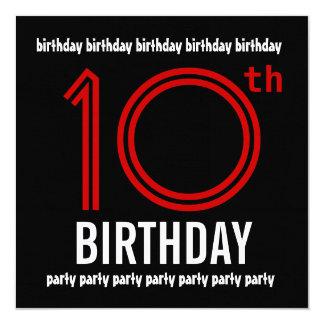 10mo Rojo de la fiesta de cumpleaños y negro Comunicados Personalizados