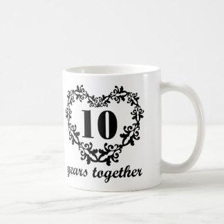 10mo Taza del regalo del corazón de los años del